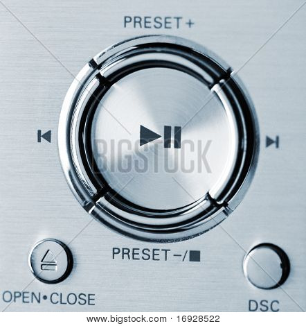 modern stereo systems buttons (shallow DOF)