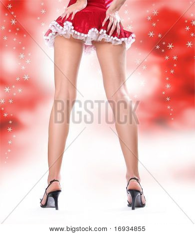 sexy woman dressed in christmas red dress