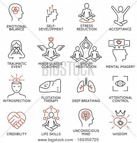 Vector set of 16 linear icons related to mindfulness awareness consciousness and mental conditions. Mono line pictograms and infographics design elements - part 3