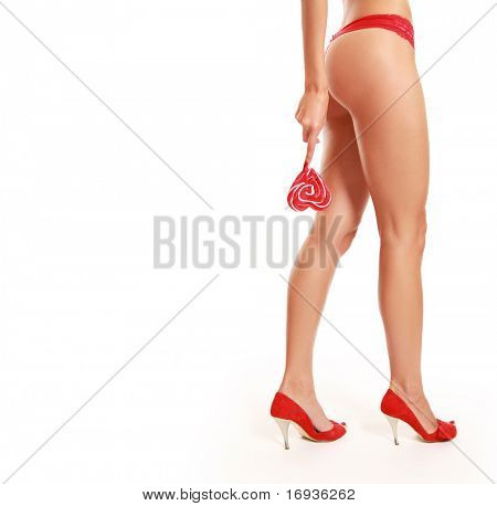 slim sexy legs isolated on white