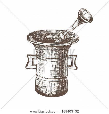 Vintage Kitchen Utensils Illustration vector illustration with sketch mortar. sketch of kitchen utensils