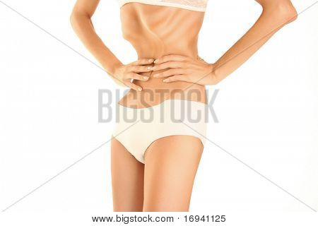 belly of young woman with anorexia