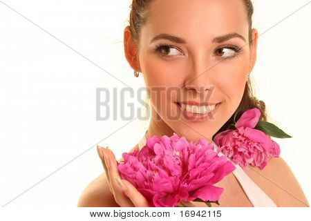 beautiful young woman with pink flower isolated on white