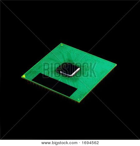 Computer Cpu Processor Chip (Isolated On Black)