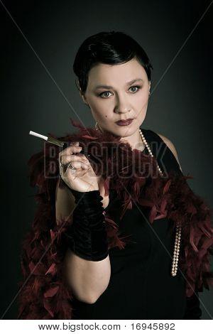adult retro woman on dark