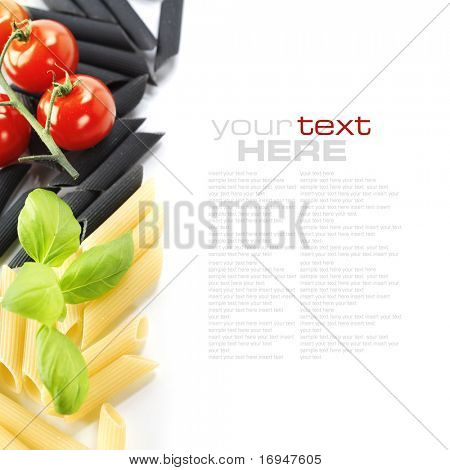 Penne, tomato and basil over white. With sample text
