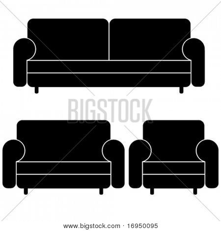 vector sofas and armchair