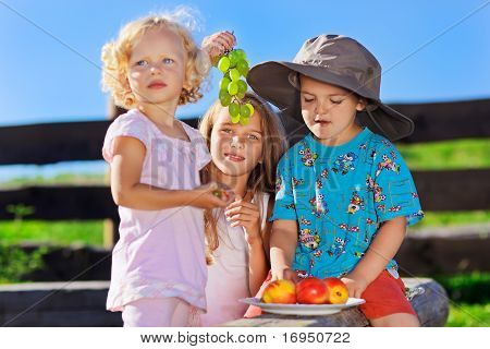 Cute Blond Little Girl And Boy In Funny Hat Playing With Fruits On Rural Wooden Log Bench