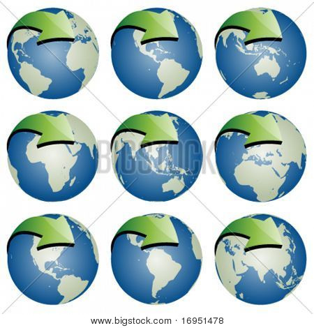 vector globes with arrows