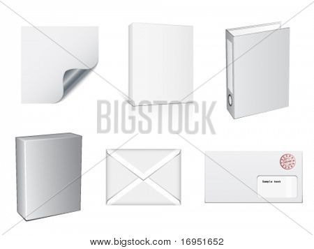 vector white paper objects