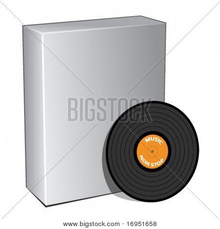 cuadro 3d Vector con disco de vinilo