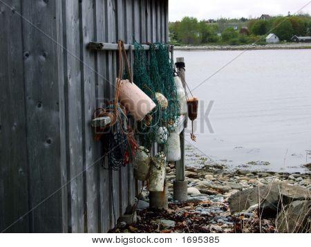 Buoys Hanging On Fish Shack