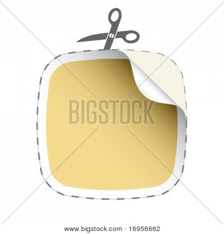 vector scissors cutting beige sticker