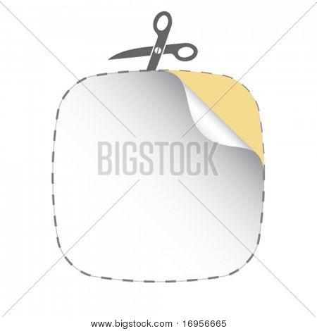 vector scissors cutting white sticker