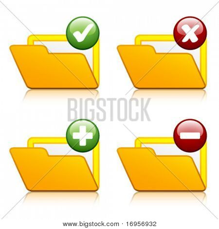 vector add delete folder icons