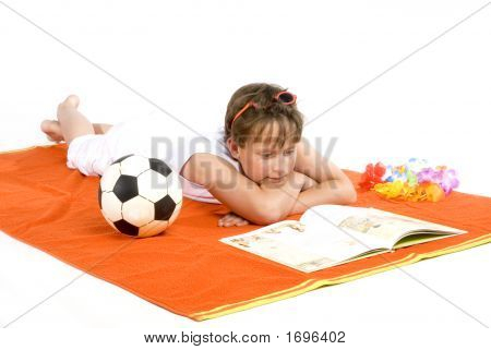 Kid Is Reading A Book