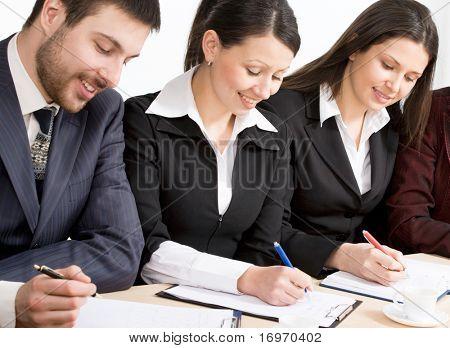 Modern businesspeople at a seminar