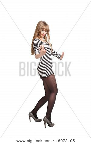 Girl Showing No Thanks Gesture