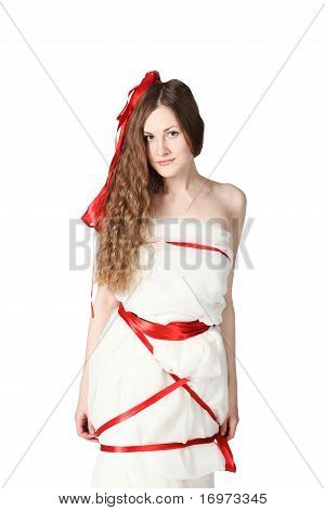 Young Bride Wrapped With Red Ribbons