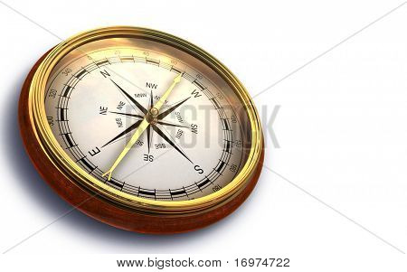 Render of vintage compass isolated on white