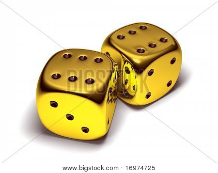 Two lucky gold dice isolated on white