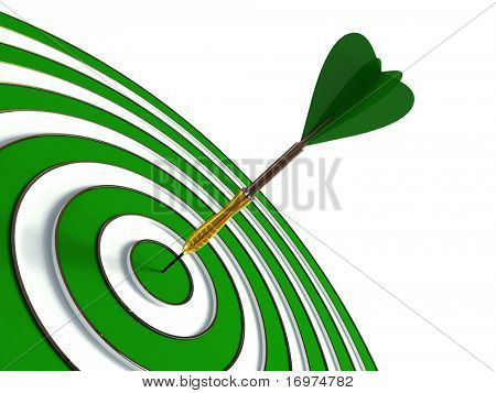 Green target and dart isolated on white