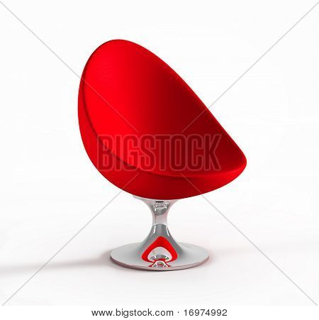 red modern armchair isolated on white background