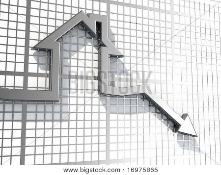 Falling real estate sales - 3d render
