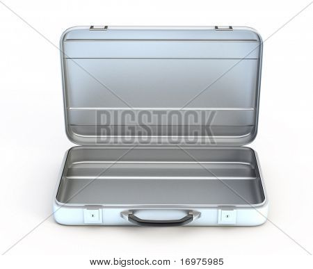 Open metal case isolated on white background - 3d render