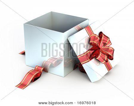 Open white gift isolated on white - 3d render