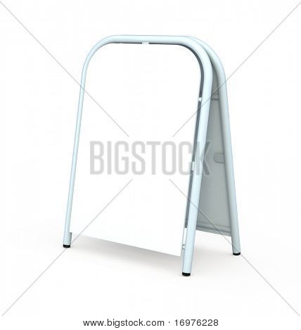 Blank sandwich board isolated on white