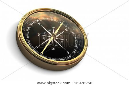 Vintage compass isolated on white