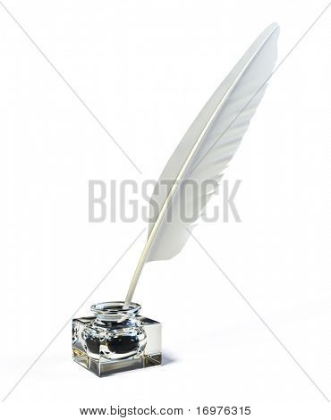 Feather and ink bottle - 3d render