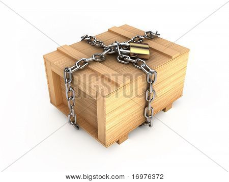 Wooden box with chain and padlock