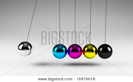 Balancing cmyk balls Newton's cradle