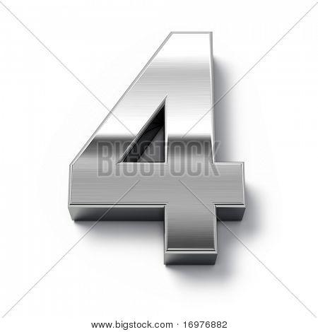 3D Metall Zahlen Anzahl 0
