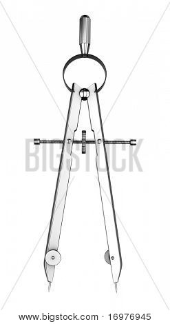 Drawing compass isolated on white background
