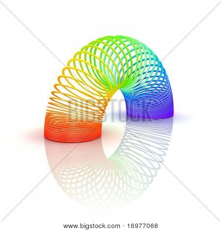 Rainbow spiral spring - 3d render