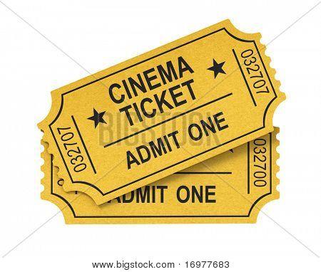 Постер, плакат: Билет кино на белом фоне, холст на подрамнике