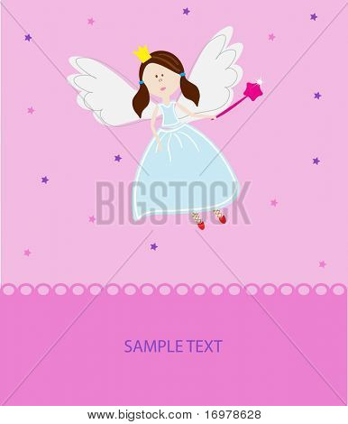 Elf girl with magic wand. Vector illustration.