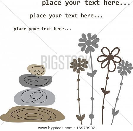 Spa flowers and stones background. Vector illustration.