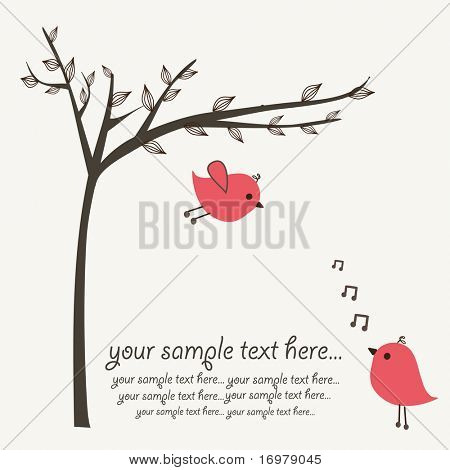 Cute vector illustration with birds couple.