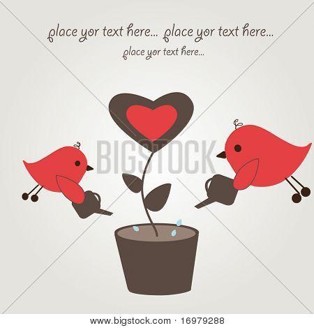 Birds couple and love tree. Vector.