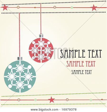 Christmas balls. Retro vector card.
