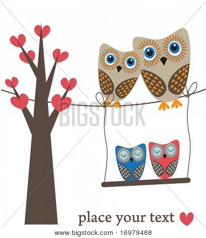 Owls family on heart tree. Vector