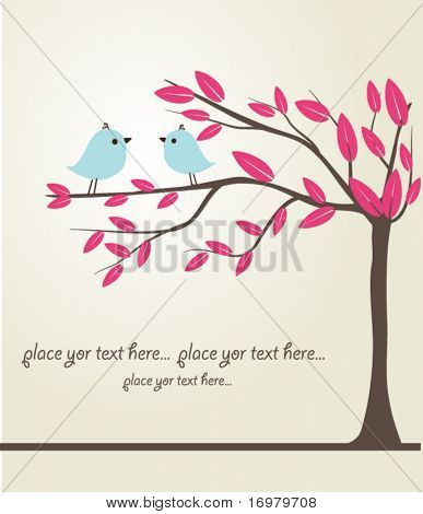 Birds couple in love. Vector illustration.
