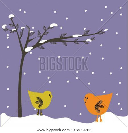 New year card with birds couple.. Vector.