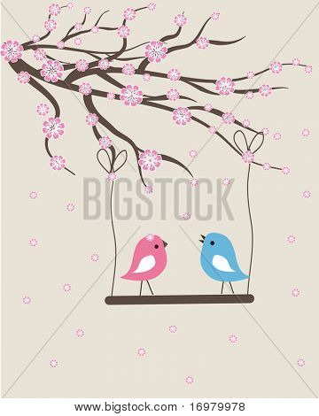 Spring birds couple. Vector valentine card.
