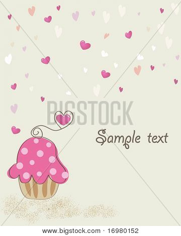 Valentine card with cupcake and hearts. Vector.