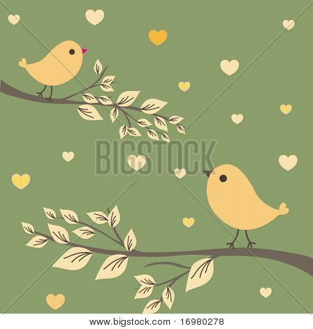 Birds on the tree. Vector illustration.